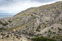 Curve mountain road to the cape Formentor, Majorca Royalty Free Stock Image