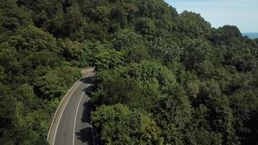 Curve of the mountain winding road. Aerial view of curve road stock video