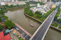 The Curve of Nhieu Loc Canal,. It is the most beautiful canal through many districts of Saigon, Vietnam Royalty Free Stock Images