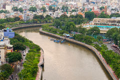 The Curve of Nhieu Loc Canal,. It is the most beautiful canal through many districts of Saigon, Vietnam Royalty Free Stock Photos