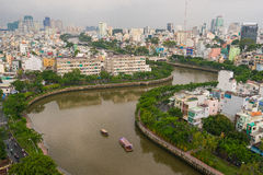 The Curve of Nhieu Loc Canal,. It is the most beautiful canal through many districts of Saigon, Vietnam Stock Images