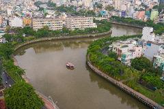 The Curve of Nhieu Loc Canal,. It is the most beautiful canal through many districts of Saigon, Vietnam Royalty Free Stock Photography