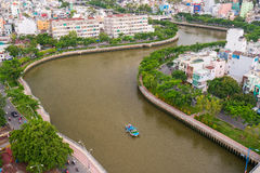 The Curve of Nhieu Loc Canal,. It is the most beautiful canal through many districts of Saigon, Vietnam Stock Image