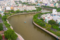The Curve of Nhieu Loc Canal,. It is the most beautiful canal through many districts of Saigon, Vietnam Royalty Free Stock Photo