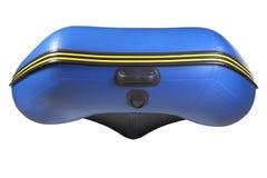 Curve o barco azul inflável, de borracha com a quilha, isolada no branco. foto de stock royalty free