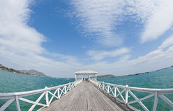 Free Curve Of Long Wooden Bridge Stock Photography - 22662862