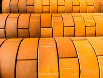 Curve of orange color brick wall Stock Photo