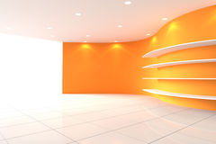 Curve Orange Wall Empty Room with Shelves Royalty Free Stock Photos