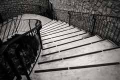 Curve outdoor stairway in monochrome Royalty Free Stock Photography
