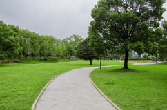 Curve path. On grass ,with trees ,in summer Stock Image