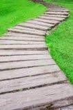 Curve pathway through green lawn Stock Photos
