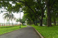 Curve pathway in the outdoor park Royalty Free Stock Images
