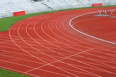 Curve of Race Track. In Big Football Stadium royalty free stock image
