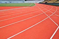 Curve of racing track. A curve of red racing track for big competitions stock image