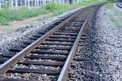 Curve of rail along on the way Stock Photos