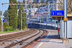 Curve of Railway track. For Electric locomotive at Platform of Territet Station in Montreux, Switzerland Royalty Free Stock Images