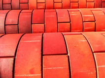 Curve of red color brick wall Stock Photos