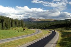 Curve on the road. And beautiful scenery stock photography