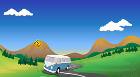 A curve road with a bus. Illustration of a curve road with a bus Royalty Free Stock Images