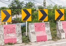 Curve road Danger signs Royalty Free Stock Photography