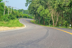 Curve road in forest. Curve road in the forest, country road of Thailand Royalty Free Stock Photography