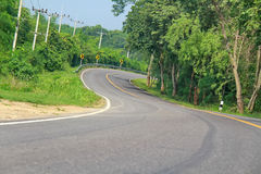 Curve road in forest. Curve road in the forest, country road of Thailand Stock Photography