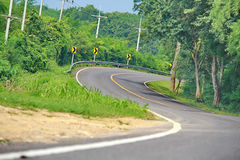 Curve road in forest. Curve road in the forest, country road of Thailand Stock Image