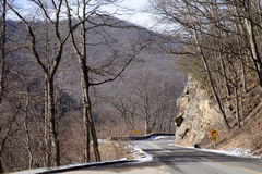 Curve in road through the Great Smoky Mountains National Park Stock Photos