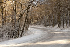 Curve in road through the Great Smoky Mountains National Park Stock Images