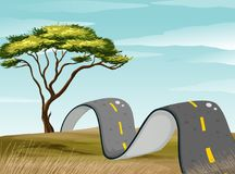 Curve road in the green field. Illustration Stock Photography