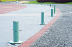 Curve road guardrail pole. Stock Photo