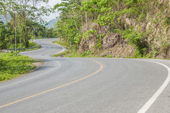 Curve road. Curve road on mountain in Thailand Royalty Free Stock Photo