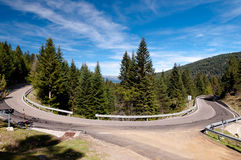 Curve on road N-260 on spanish pirineos Stock Images