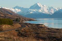 Curve of road near mt.Cook at sunrise Stock Image