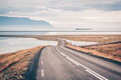 Curve Road at North Iceland. Curve Road through sea lagoon of the North Iceland Stock Photos
