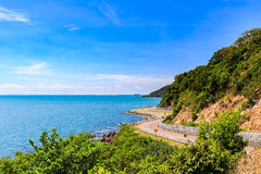 Curve road with sea view and blue sky at Khung Wiman Beach, Chan Stock Photography