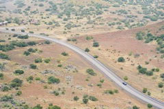 Curve of the road seen from above Royalty Free Stock Photos