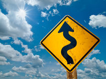 Curve road sign Stock Photo