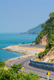Curve Road. Curve on the road thaliand.Winding road by the sea in Chanthaburi, Thailand stock image