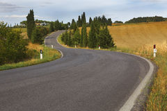 Curve road though Tuscany, Italy Stock Image