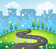 A curve road at the top of the hill. Illustration of a curve road at the top of the hill Royalty Free Stock Photo