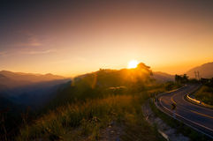Curve road on top hill thailand Royalty Free Stock Photography