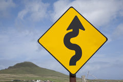 Curve Road Traffic Warning Sign Stock Photography