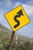 Curve Road Traffic Warning Sign Royalty Free Stock Image