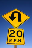 'Curve in Road' Warning Sign Stock Photography