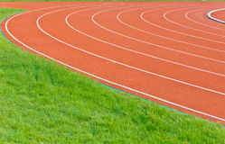 Curve of running track. Red running track for athletic stock image