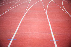 Curve of running track. Red color royalty free stock photo