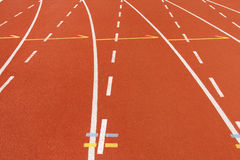 Curve running track. In stadium royalty free stock photos