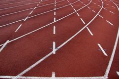 Curve of running tracks. At the stadium Stock Photography
