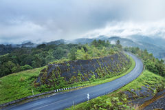 Curve s shape road on hill. Curve s shape road go to hill stock image